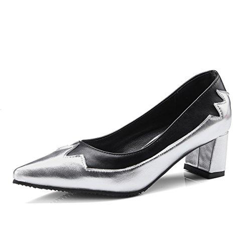 Profonde Talon Chaussures Bloc Silver Chaussures amp;S MEI Peu Bouche Femmes 578w1gq