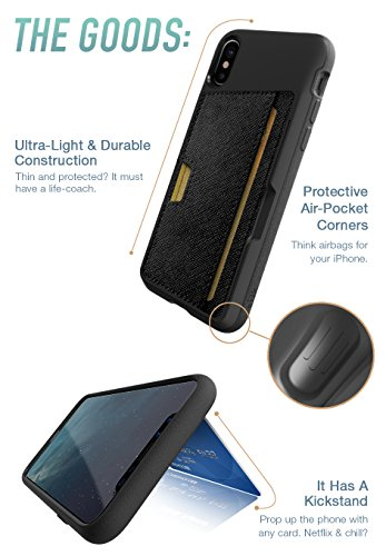 info for b5e1d 2bded Silk iPhone X Wallet Case - Q CARD CASE [Slim Protective Kickstand CM4  iPhone 10 Grip Cover] - Wallet Slayer Vol.2 - Black Onyx