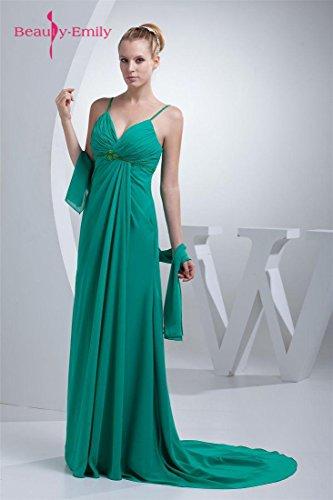 Grün tiefes Spaghetti Emily Ausschnitt V Plissees Beauty Kleid Trägern 4pqg8