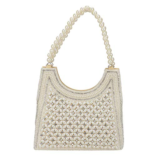 Indian Style Pearl Tote Bag Wrist Bag Evening Clutch Wedding Purse for Women & Girls ()