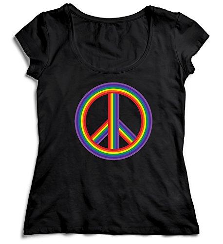 inbow Women Women's Lady T-Shirt Shirt Black Soft Organic Cotton Womens XL Women's Black T-Shirt (Peace Sign Organic Cotton Tee)