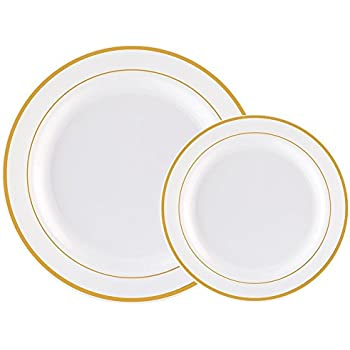 60PCS Heavyweight White with Gold Rim Wedding Party Plastic Plates Dinnerware Sets30-  sc 1 st  Amazon.com & Amazon.com: 60PCS Heavyweight White with Gold Rim Wedding Party ...