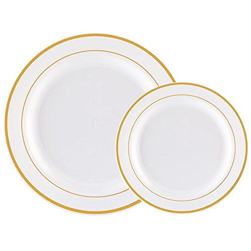 (60PCS Heavyweight White with Gold Rim Wedding Party Plastic Plates,Dinnerware Sets,30-10.25inch Dinner Plates and 30-7.5inch Salad Plates -WDF (White/Gold Rim))