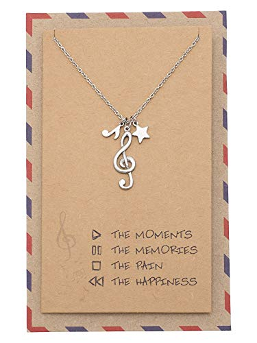 Quan Jewelry Treble Clef Pendant, Music Note and Star Charm, Gifts for Music Lovers, Musicians and Singers with Greeting Card