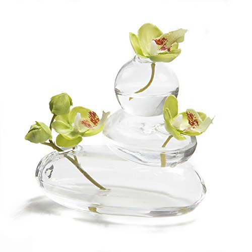 - Chive - Hudson Rockpile, Unique Clear Glass Flower Vase, Small and Elegant Round Bud Vase, Decorative Floral Vase for Home Decor Office Place Settings, Set of 3 Connected Together