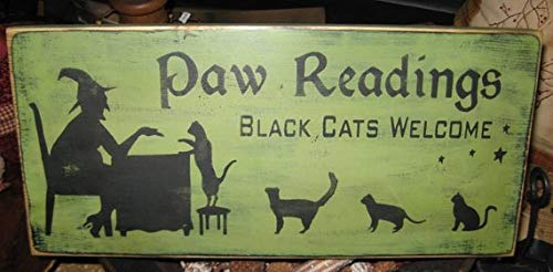 Paw Readings Witch Primitive Wood Sign Halloween Cats Cat Kitten Wall Hanging Home Decor Wiccan Plaque Wicca Fall 5.5 x 12 inch ()