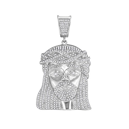 Roy Rose Jewelry 10K White Gold Mens Round Diamond Jesus Christ Head Messiah Charm Pendant 1-7/8-Carat ()