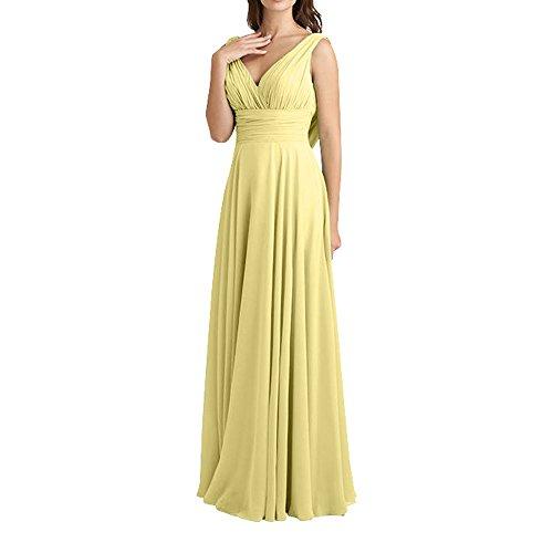 Neu Traube Gelb Hell V Chiffon linie ausschnitt Damen A Lang Abendkleider Elegant Brautjungfernkleider Charmant FOrmalkleider qtwf7xSq6