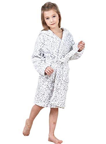 JuneBloom Soft Unisex Kids Bathrobe Hooded Fleece Sleepwear Boys Girls Loungewear 4-5 Years Old