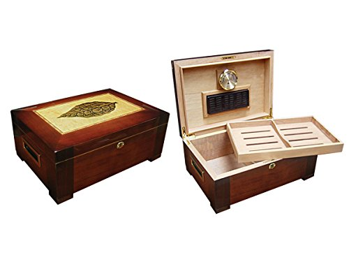 (Prestige Import Group - The Stetson Wooden Cigar Humidor w/Inlay - Color: Dark Burl Finish)