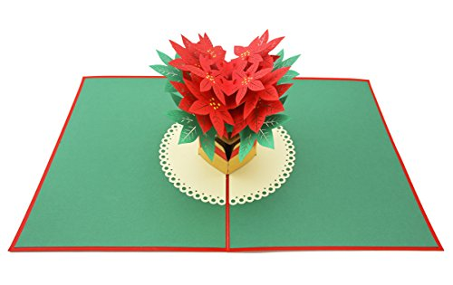 Holly Flat Cards - PopLife Red Poinsettia 3D Pop Up Greeting Card for All Occasions - Valentine's Day, Winter Floral - Folds Flat for Mailing - Birthday, Get Well, Anniversary, Sister Gift, Just Because, Easter