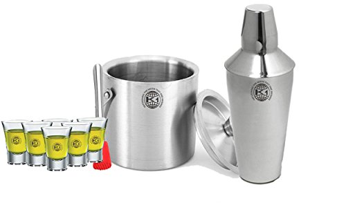 King International 100% Stainless Steel Bar Set   Bar Tools   Bar Accessories Set Of 9 Pieces Includes 6 Shot Glasses   Muddler   Cocktail Shaker   Ice Bucket   by King International