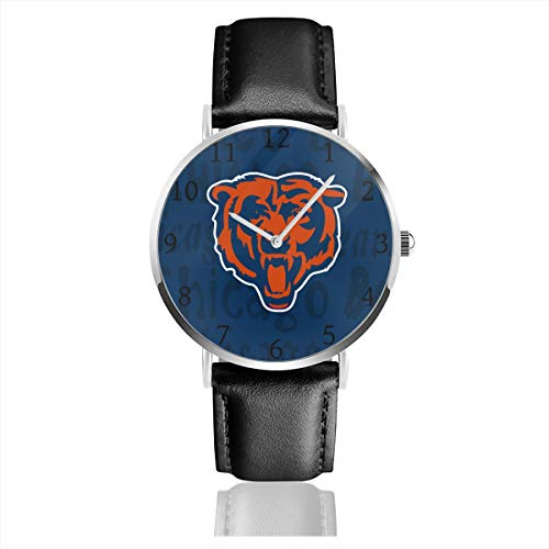 Gdcover Custom Chicago Bears Unisex Casual Quartz Wrist Watches with PU Leather Band