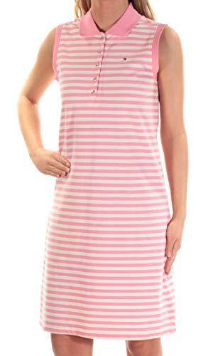 (Tommy Hilfiger Women's Striped Polo Dress (L, Pink/Ivory))