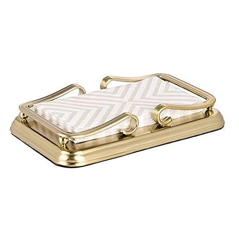 mDesign Toallero de baño de metal – Porta toallas de mano, pañuelos de papel,