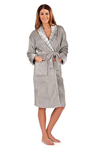 Mujeres piel artificial Albornoz pijamas pijama o combinación De Luxe pijama Loungeable Boutique Argenté - Robe