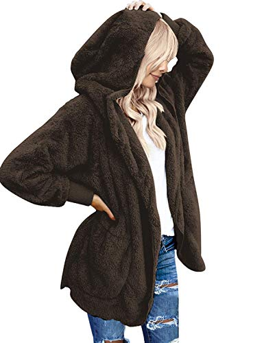 LookbookStore Women's Fleece Open Front Hooded Draped Pocket Cardigan Coat Brown Size L (Fit US 12 - US 14)