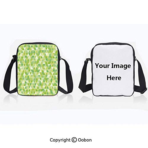 Multipurpose Crossbody Bag For Sports Unisex Teen Triangles Geometry Figures Modern Digital Pyramids Soft Icons Graphic Decorative Pale and Fern Green Anti-Theft Travel Hiking Polyester Water Proof -
