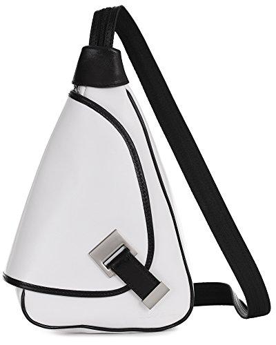 'Mila' de LiaTalia - 2en1 - Pequeño bolso de hombro para mujer ligero y convertible en mochila en auténtica piel italiana Blanco - Con Borde Negro