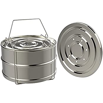 ekovana Stackable Stainless Steel Pressure Cooker Steamer Insert Pans - For Instant Pot Accessories 6 qt