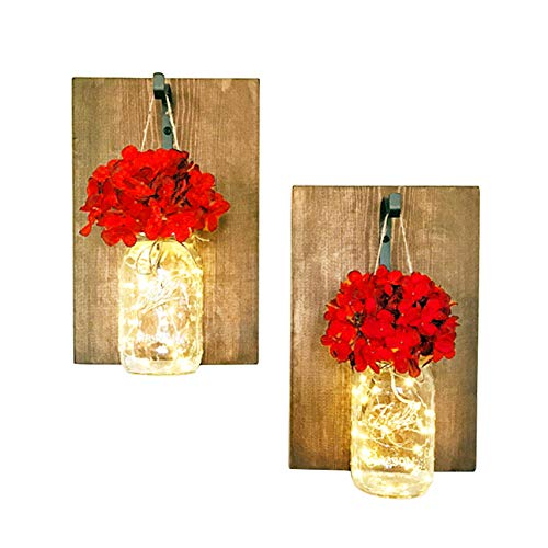 MD Lighting Mason Jar Sconces Wall Decor with Warm White LED Fairy Lights, with Red Silk Hydrangea Flower, Romantic Vintage Style Mason Jar Light for Home Bedroom Bathroom Decoration, Battery ()