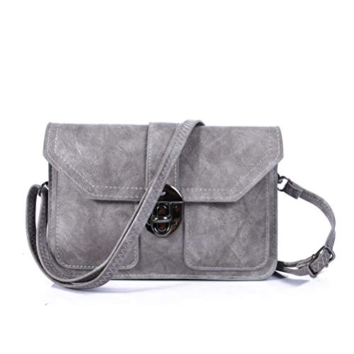 Multi Pocket Small Purse Cell Phone Wallet Vegan Leather Crossbody Bags for Women by TENXITER(Grey)