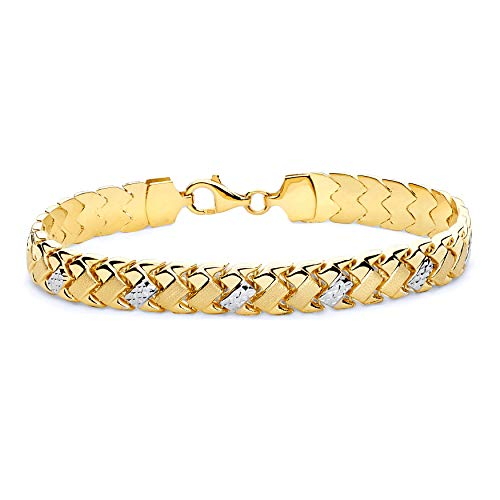 Gold Womens Stampato Bracelet - Wellingsale 14k Two 2 Tone White and Yellow Gold Polished Stampato Bracelet - 7.25