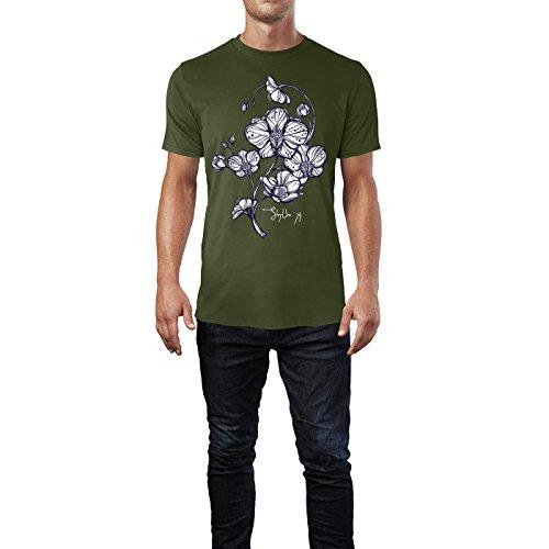 SINUS ART® Florale Zeichnung mit Orchideen Herren T-Shirts in Armee Grün Fun Shirt mit tollen Aufdruck