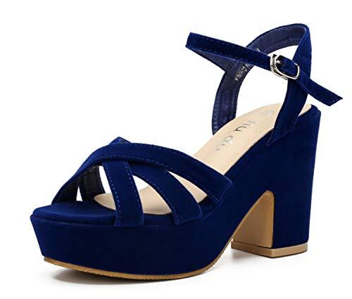 Women's Wedge Platform Sandals Peep Round Toe Chunky Heeled Pumps Shoes Blue Velvet Size US 10 EU 43