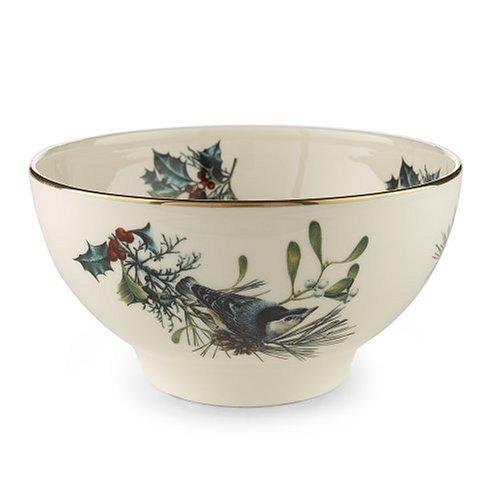 Bowl Ivory Fruit (Lenox Winter Greetings Gold Banded Ivory China Fruit Bowl)