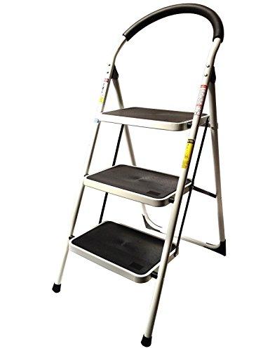 StepUp Heavy Duty Steel Reinforced Folding 3 Step Ladder Stool - 330 lbs Capacity -