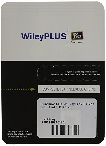 Fundamentals of Physics Extended, Tenth Edition WileyPLUS Blackboard Card