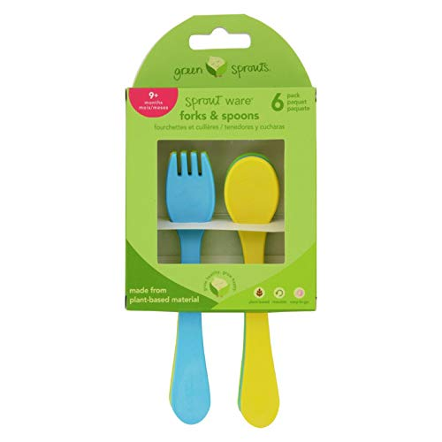 2 Pack of Green Sprouts Forks and Spoons - Sprout Ware - 9 Months Plus - Aqua Assorted - 6 Pack