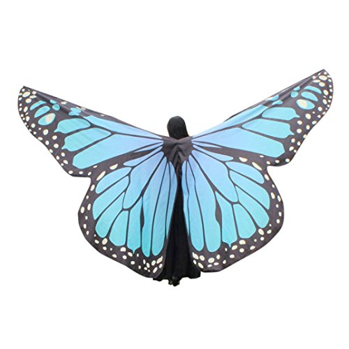 VESNIBA Egypt Belly Wings Dancing Costume Butterfly Wings Dance Accessories No Sticks (Sky Blue)