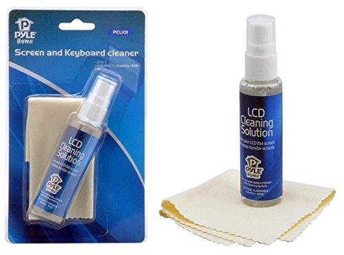 Computer LCD Screen Cleaning Kit - 40ml Cleaner Solution Spray Plus a Cleaning Cloth, Tool Cleans Phone, Keyboard, Laptop Surface, Plasma Flat TV Monitor, Macbook, Kindle, iPad, iPhone - Pyle PCL101