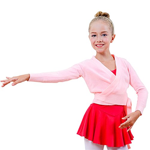 Costumes Professional Jazz (Girls' Dance Sweater Long Sleeved Solid Cute Pretty Cross Knit Ballet Cardigan Pink)