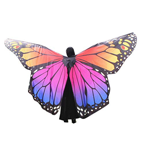 POQOQ Party Soft Fabric Butterfly Wings Shawl Fairy Ladies Nymph Pixie Costume Accessory 260150CM Orange -