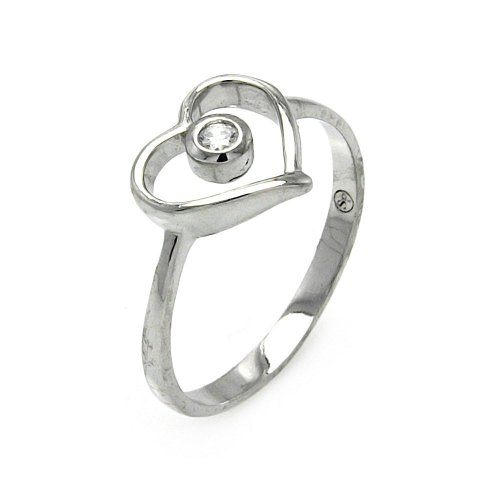 20mm Open Heart Ring - Small Clear Cubic Zirconia Open Heart Ring Rhodium Plated Sterling Silver Size 9
