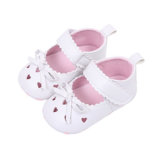 Shoes for Toddler Boys Age 2,Newborn Infant Baby Girls Crib Shoes Soft Sole Anti-Slip Sneakers Bowknot Shoes,Girls' Running Shoes,White,12-18M (Crib Shoes Converse Lace Up)
