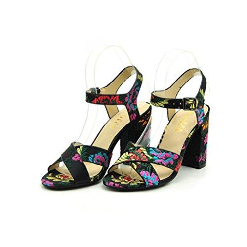 QPYC Las señoras de tacón grueso sandalias de tacón alto cabeza redonda bordada toman hebilla cómoda correa cruzada zapatos romanos retro black