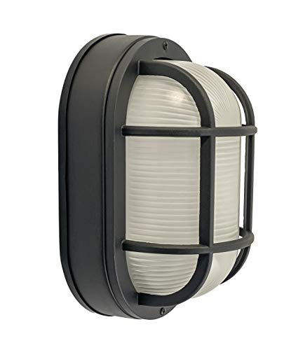 CORAMDEO Outdoor Large Oval LED Bulkhead Light, Flush Mount for Wall or Ceiling, Wet Location, Built in LED Gives 125W of Light from 14.5W of Power, Black Cast Aluminum with Frosted Glass Lens