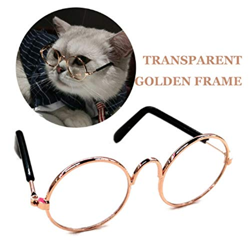 Stock Show Funny Cute Dog Cat Retro Fashion Sunglasses Mosaic Glasses Transparent Eye-wear Protection Puppy Cat Teacher Bachelor Cosplay Glasses Pet Photos Props for Small Dog Cat, Golden]()
