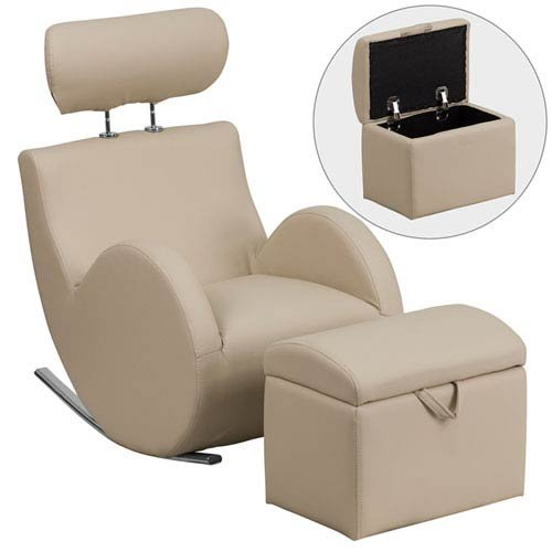 Parkside Series Beige Vinyl Rocking Chair with Storage Ottoman by Parkside