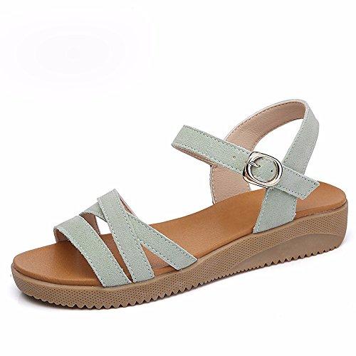 No. 55 Shoes Le Donne 's Donne Incinte' s Scarpe Non - Slip in Pelle Punta esposta Tacco Piatto Piatto Scarpe,US7.5/EU38/UK5.5/CN38,Verde