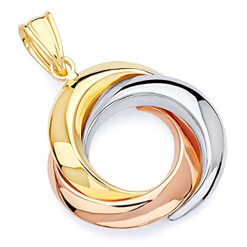 Wellingsale 14k 3 Tri Color White Yellow and Rose Gold 3Round Infinity Pendant (Size : 26 x 20 mm) ()