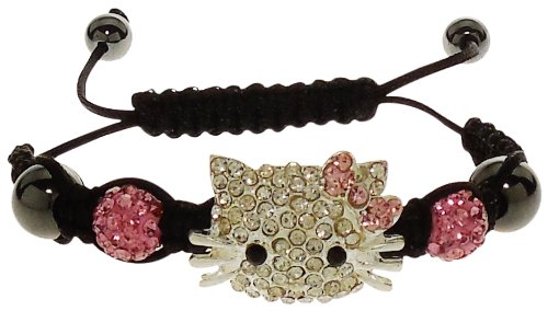 Bracelet - Rhinestone Crystal Encrusted Kitty Face with Pink Shamballa Beads - Pretty Kitty in Pink Crystals - 14k Kitty