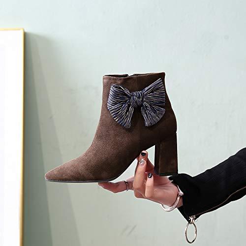 HOESCZS HOESCZS HOESCZS Herbst High Heels Dick Mit Spitzen Seitenreißverschluss Damen Schuhe Ankle Stiefel Bogen Martin Stiefel Damen Stiefel B07J1ZZYGV Sport- & Outdoorschuhe Moderater Preis 912b3b