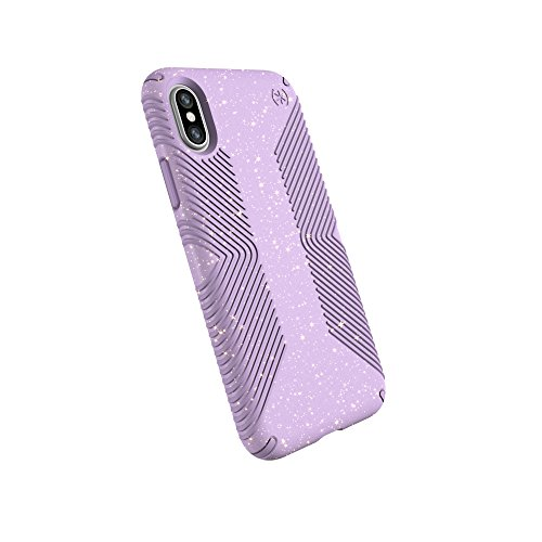Speck Products Compatible Phone Case for Apple iPhone XS and iPhone X, Presidio Grip + Glitter Case, Geode Purple W/Gold Glitter/Taro Purple