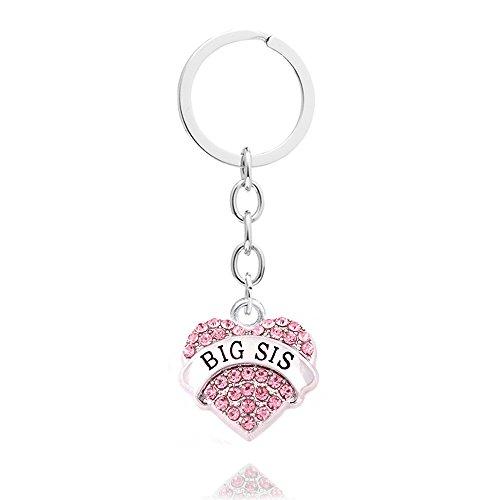 4pcs Women Girl Gift Big Middle Little Baby Sister Love Heart Pendant Key Chain Ring Set Family Jewelry (4pcs Pink B/M/L/B Sister Key Chains) Photo #2