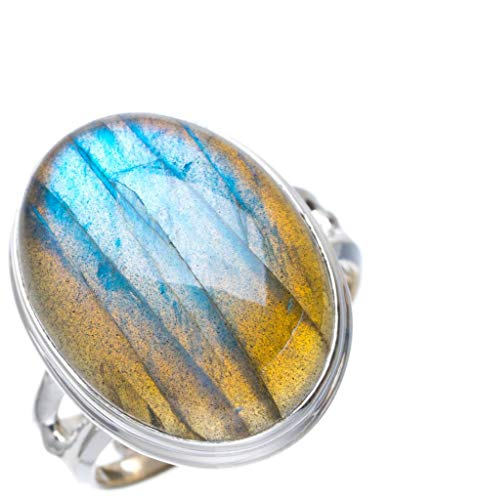 Natural Blue Fire Labradorite Handmade Unique 925 Sterling Silver Ring 8 A1156 (Judith Ripka Crystal Ring)